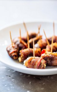 bacon wrapped dates with goat cheese
