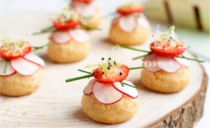 Savory choux with strawberry and parmigiano