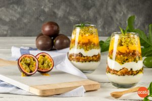 Purple passion fruit and mango parfait